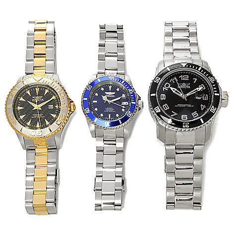 626-947 - Invicta Pro Diver Set of Three Stainless Steel Bracelet Watches w/ Three-Slot Dive Case