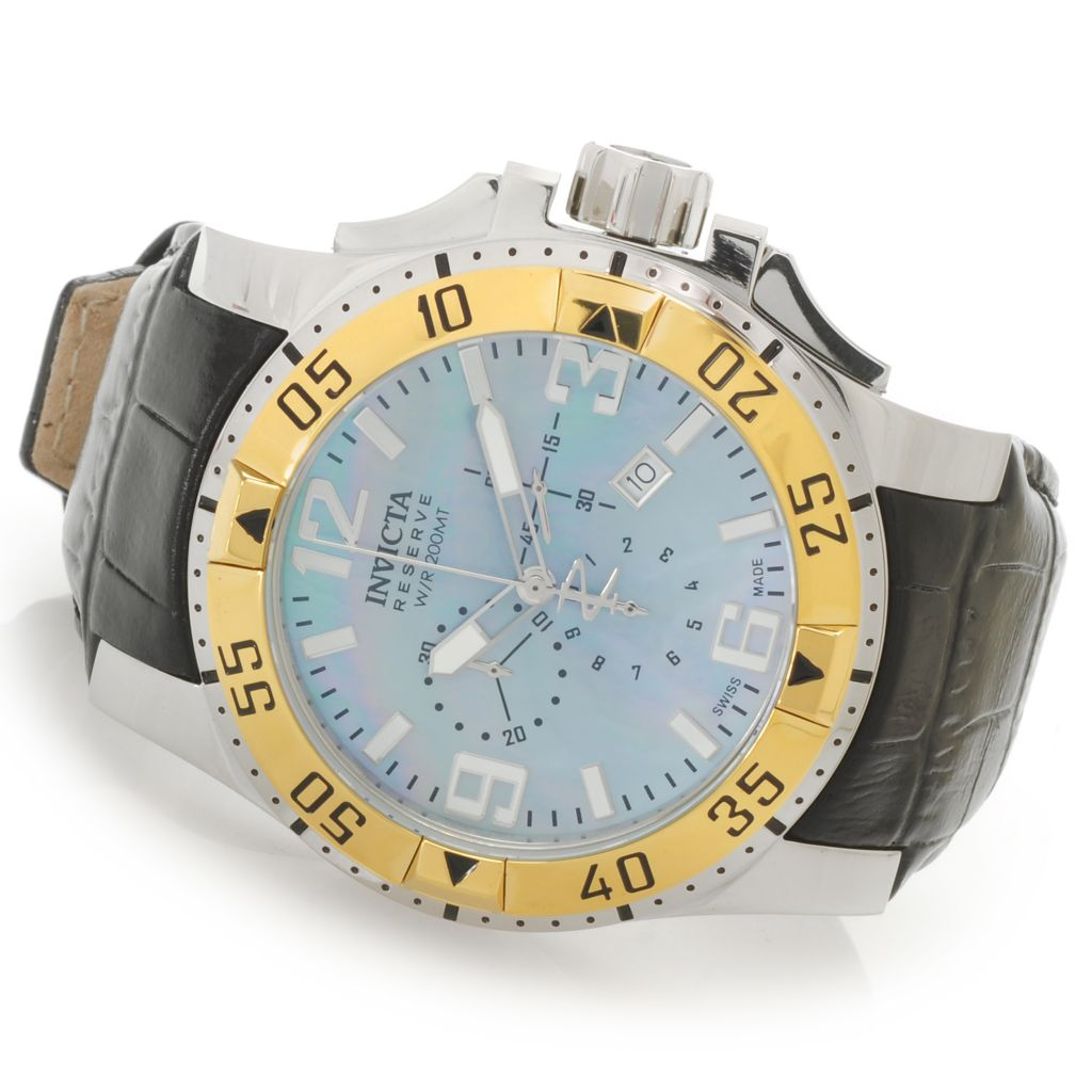 626-950 - Invicta Reserve 50mm Excursion Swiss Chronograph Stainless Steel Leather Strap Watch