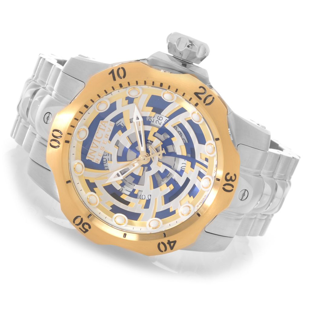 626-952 - Invicta Reserve 52mm Venom Swiss Made Quartz Skeletonized Dial Bracelet Watch w/ One-Slot Dive Case