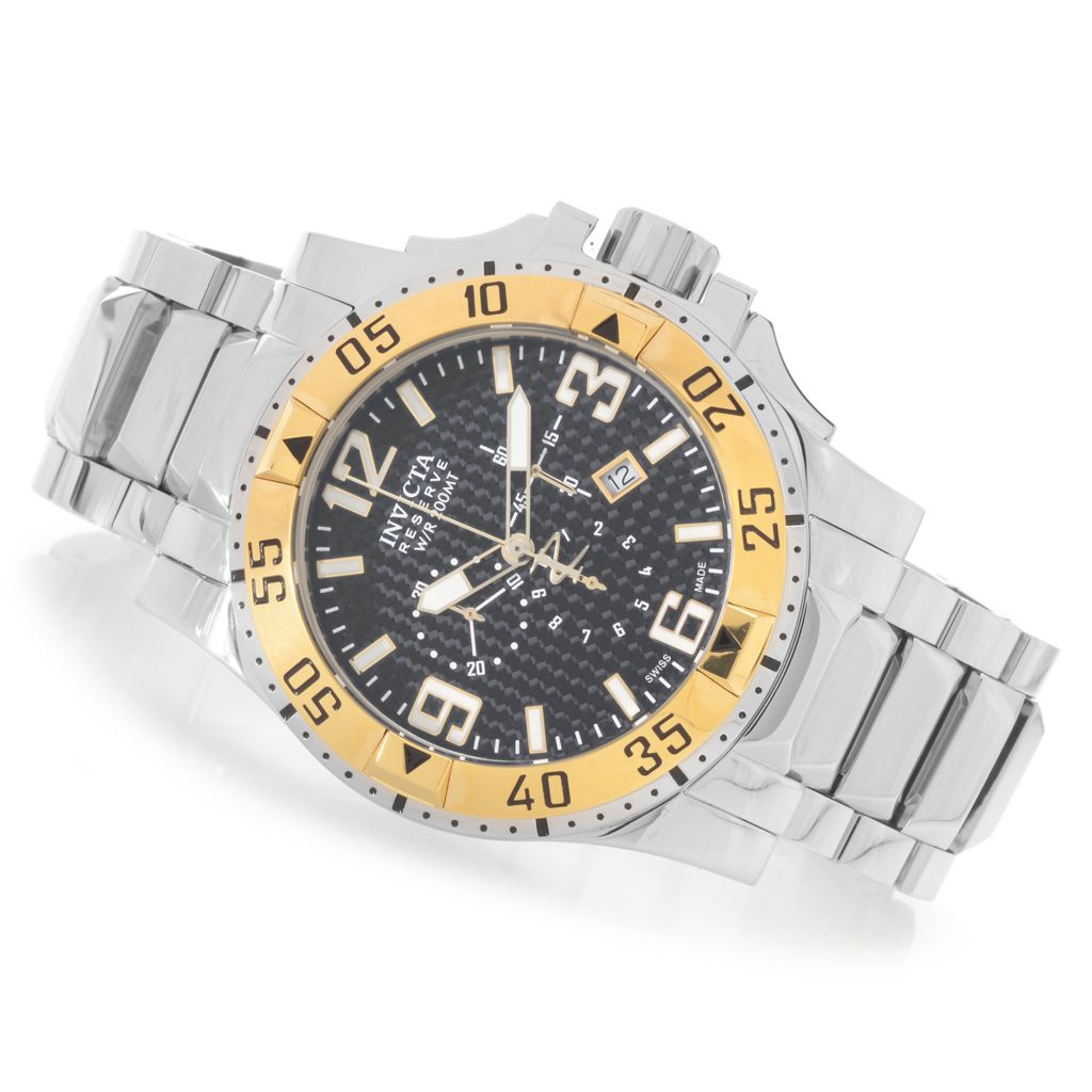 626-954 - Invicta Reserve 50mm Excursion Swiss Chronograph Stainless Steel Bracelet Watch w/ 1-Slot Dive Case
