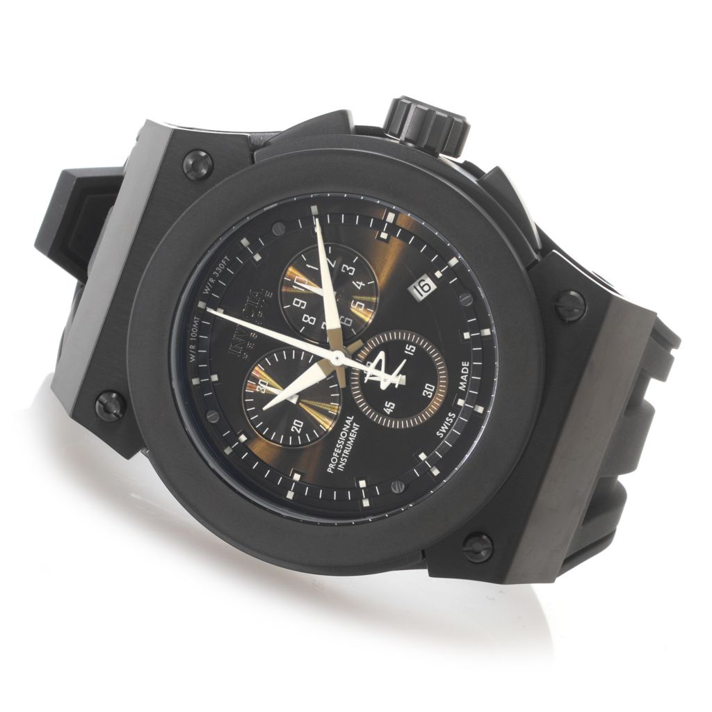626-961 - Invicta Reserve 52mm Akula Swiss Chronograph Silicone Strap Watch w/ One-Slot Dive Case