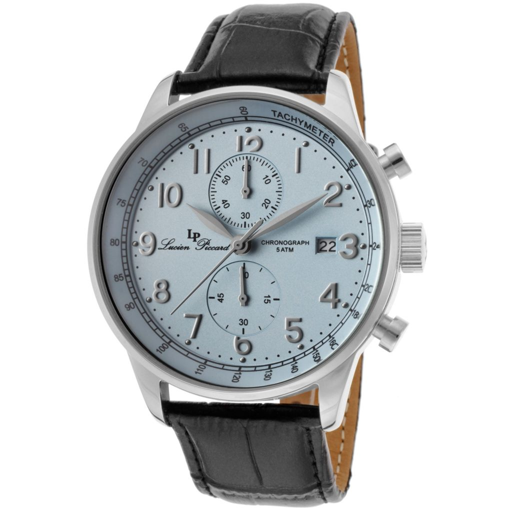 626-984 - Lucien Piccard 44mm Montilla Quartz Chronograph Leather Strap Watch