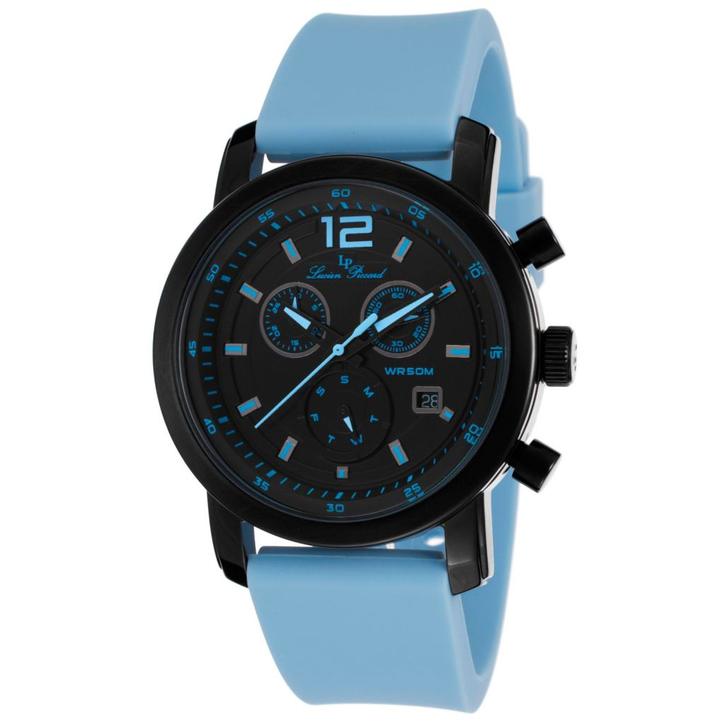 627-001 - Lucien Piccard 42mm Toules Swiss Quartz Chronograph Silicone Strap Watch