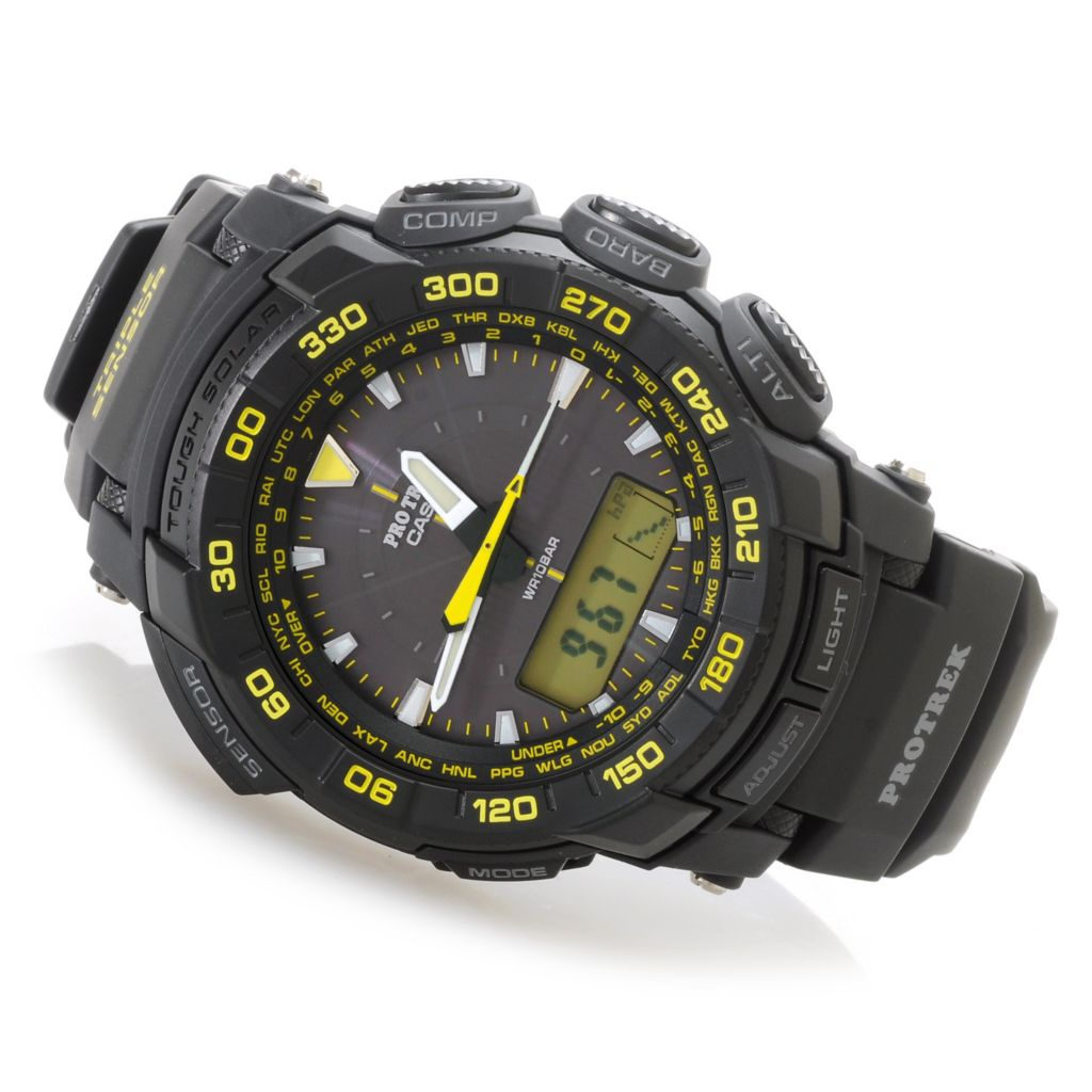 627-009 - Casio 48mm Pro Trek Solar Analog & Digital Compass Rubber Strap Watch
