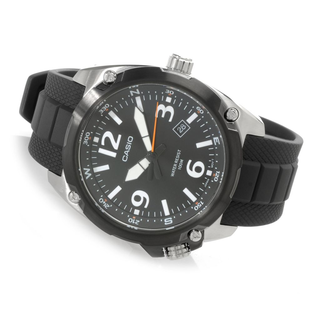 627-010 - Casio 47mm Dive Style Quartz Stainless Steel Rubber Strap Watch