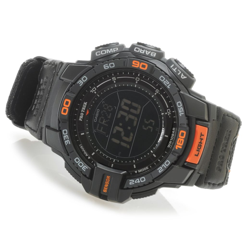 627-012 - Casio 50mm Pro Trek Triple Sensor Solar Digital Quartz Nylon Strap Watch