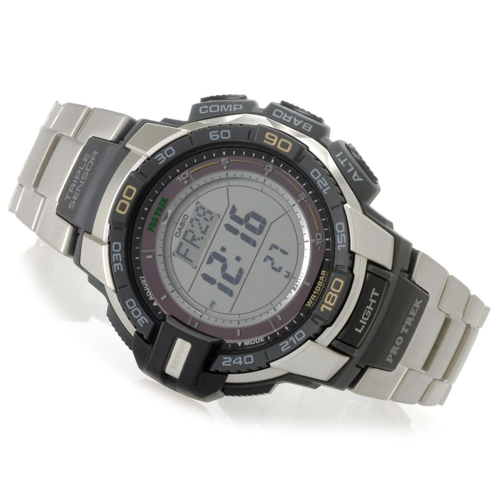 627-013 - Casio 46mm Pro Trek Triple Sensor Solar Digital Quartz Bracelet Watch