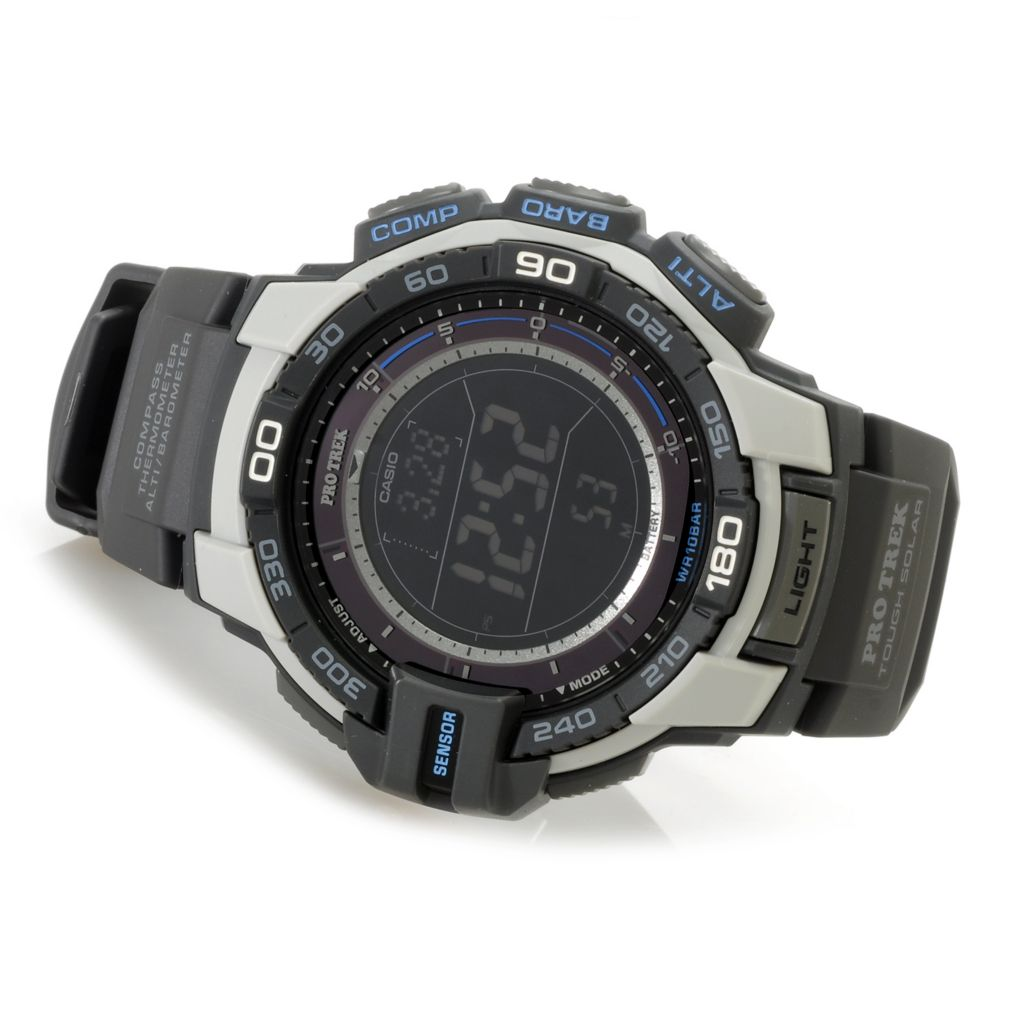627-017 - Casio 50mm Pro Trek Triple Sensor Solar Digital Quartz Rubber Strap Watch