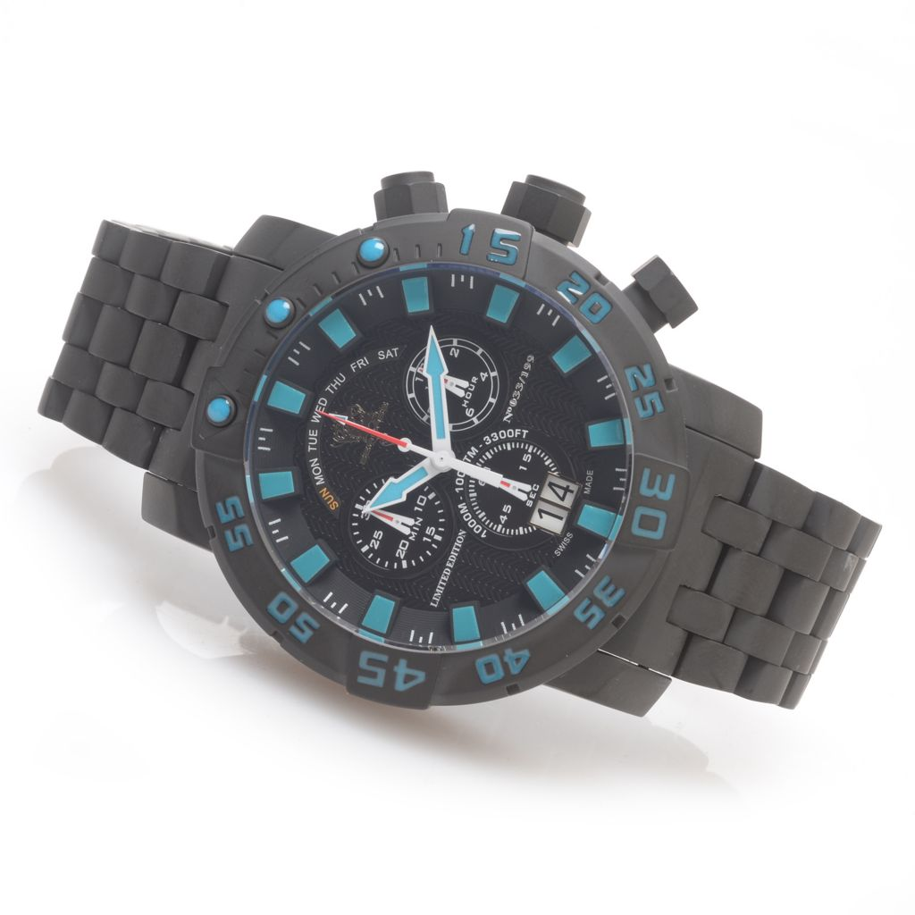 627-019 - Invicta 53mm Sea Base Swiss Made Chronograph Titanium Watch w/ One-Slot Dive Case