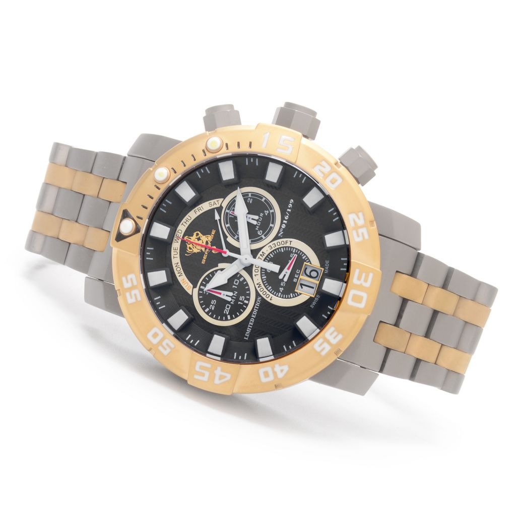 627-020 - Invicta 53mm Sea Base Swiss Made Chronograph Titanium Bracelet Watch w/ One-Slot Dive Case