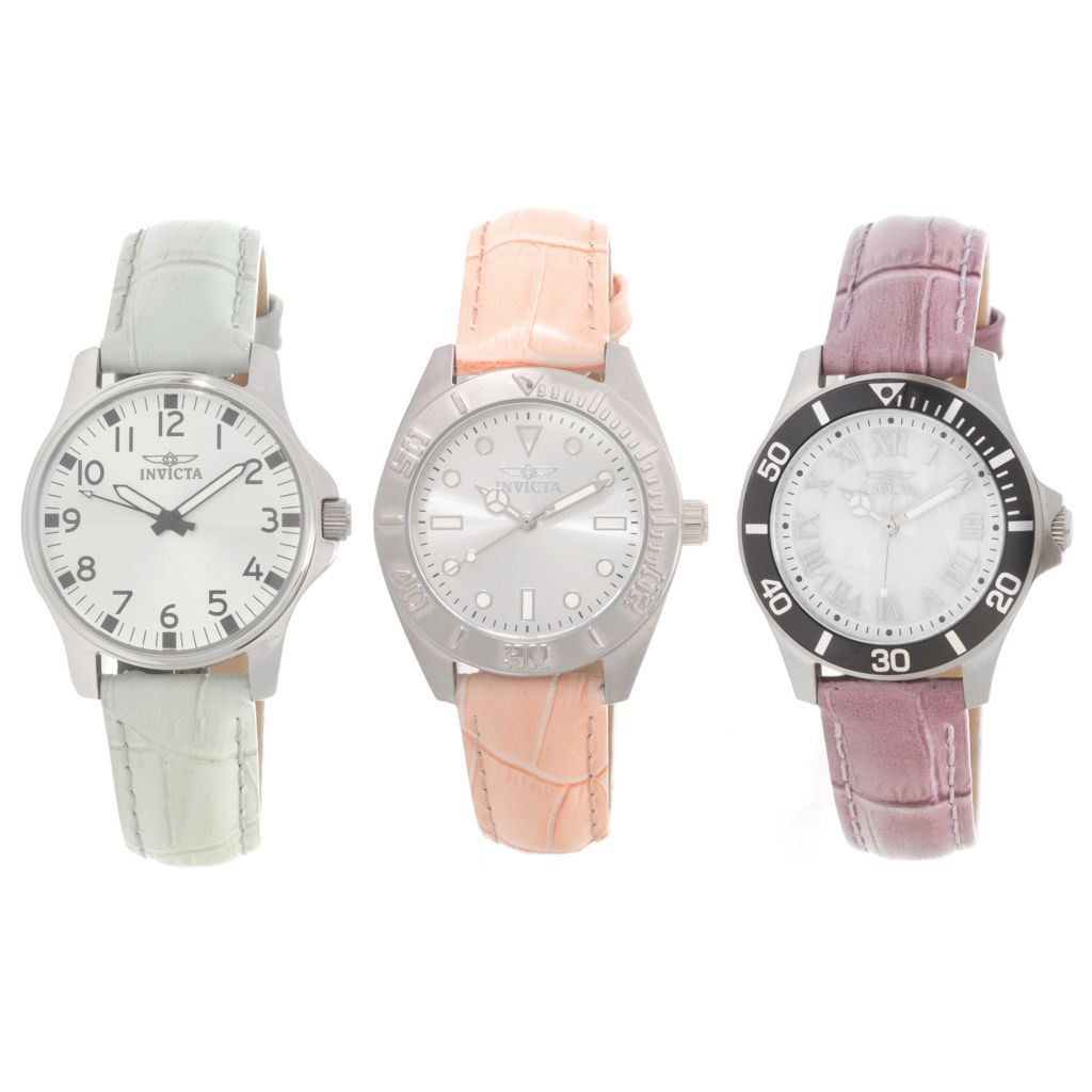 627-025 - Invicta Women's Set of Three Quartz Stainless Steel Leather Strap Watches w/ Travel Case
