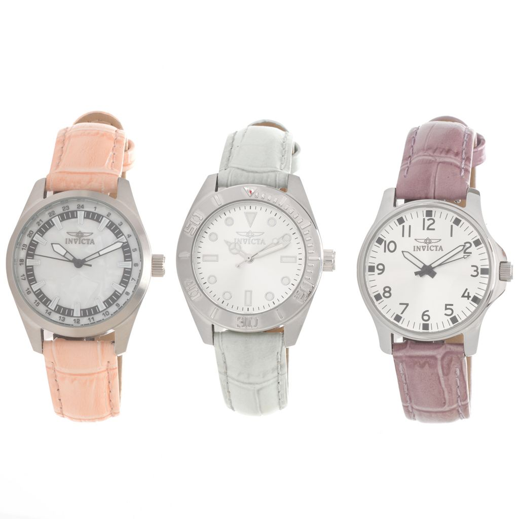 627-026 - Invicta Set of Three Women's Quartz Leather Strap Watches w/ Three-Slot Travel Case