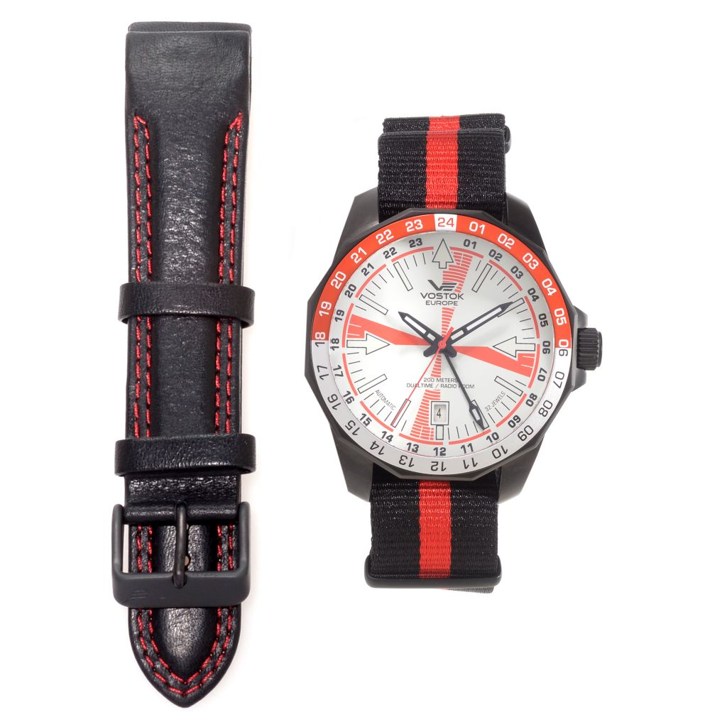 627-043 - Vostok-Europe 46mm Radio Room Automatic Dual-Time Canvas Strap Watch w/ Extra Strap