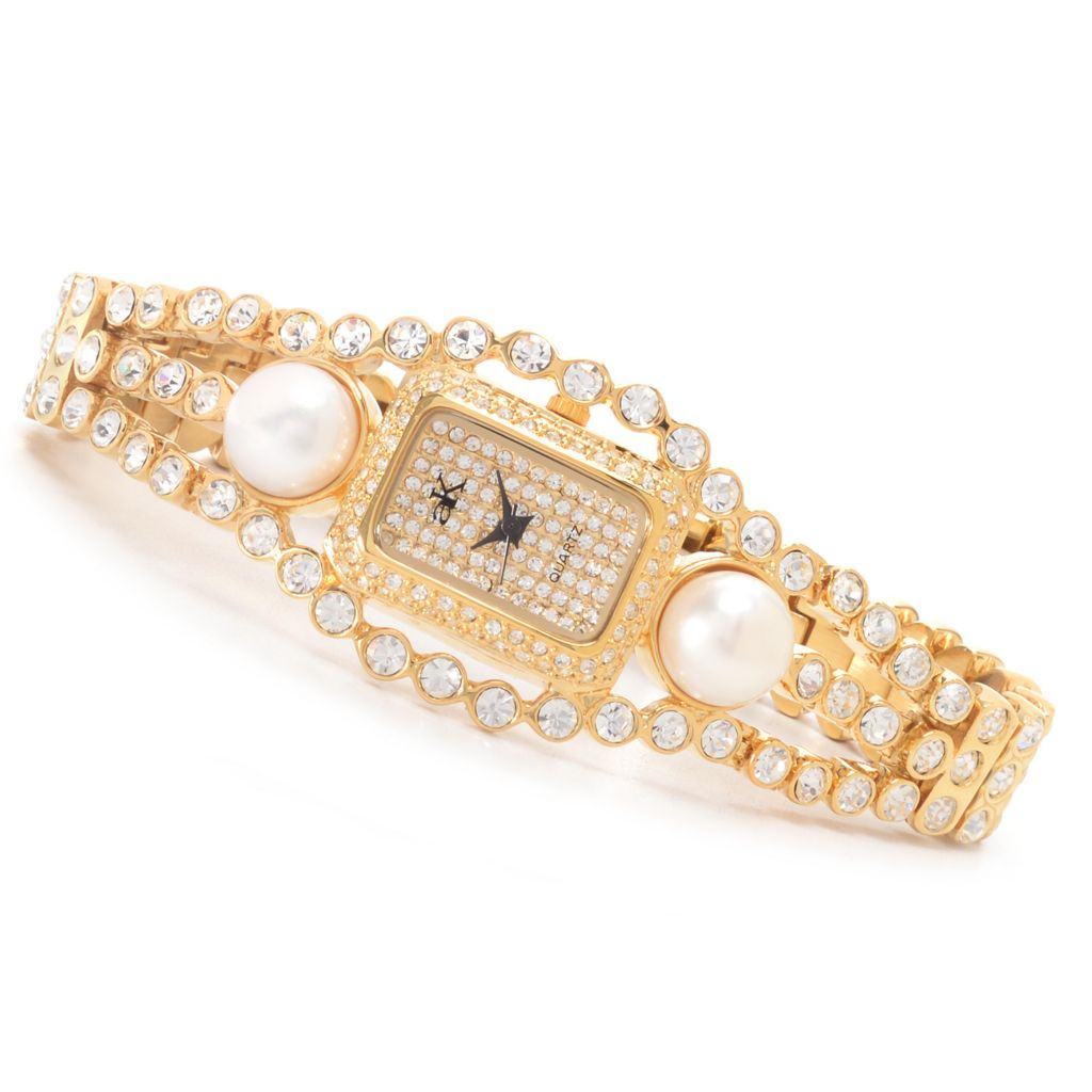 627-075 - Adee Kaye Women's Fame Quartz Cultured Pearl & Crystal Accented Bracelet Watch