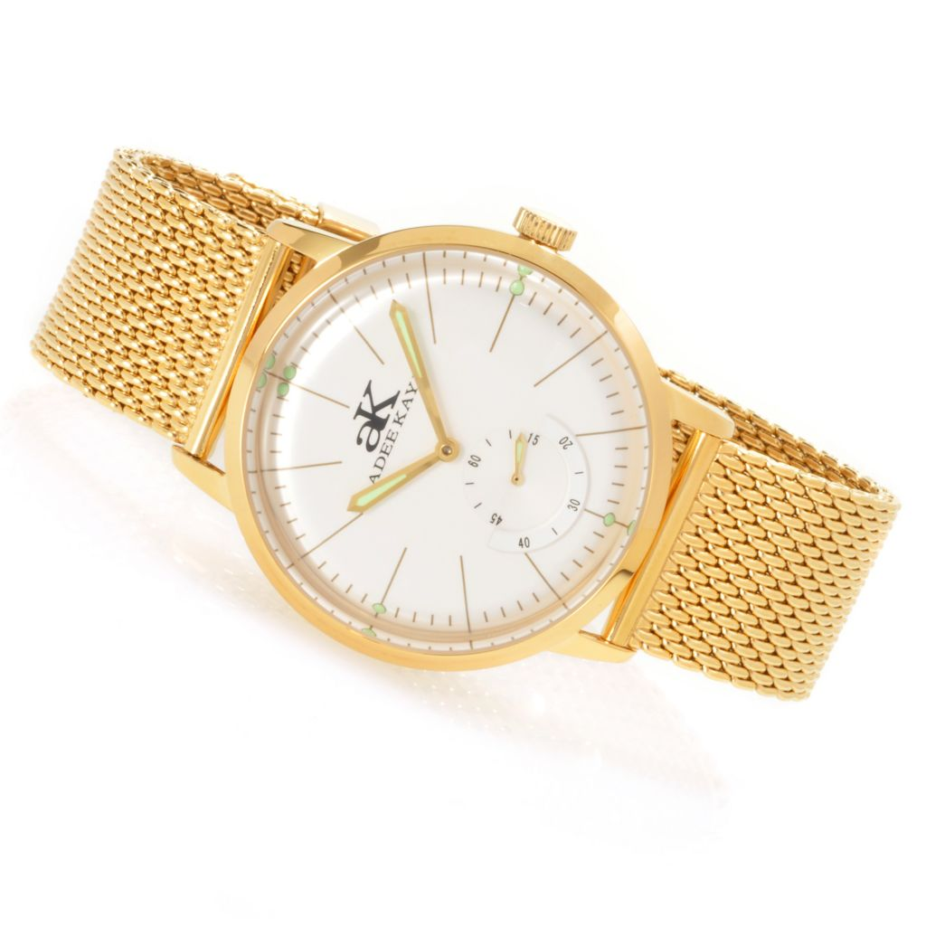 627-079 - Adee Kaye 42mm Vintage-Style Slim Mechanical Stainless Steel Mesh Strap Watch