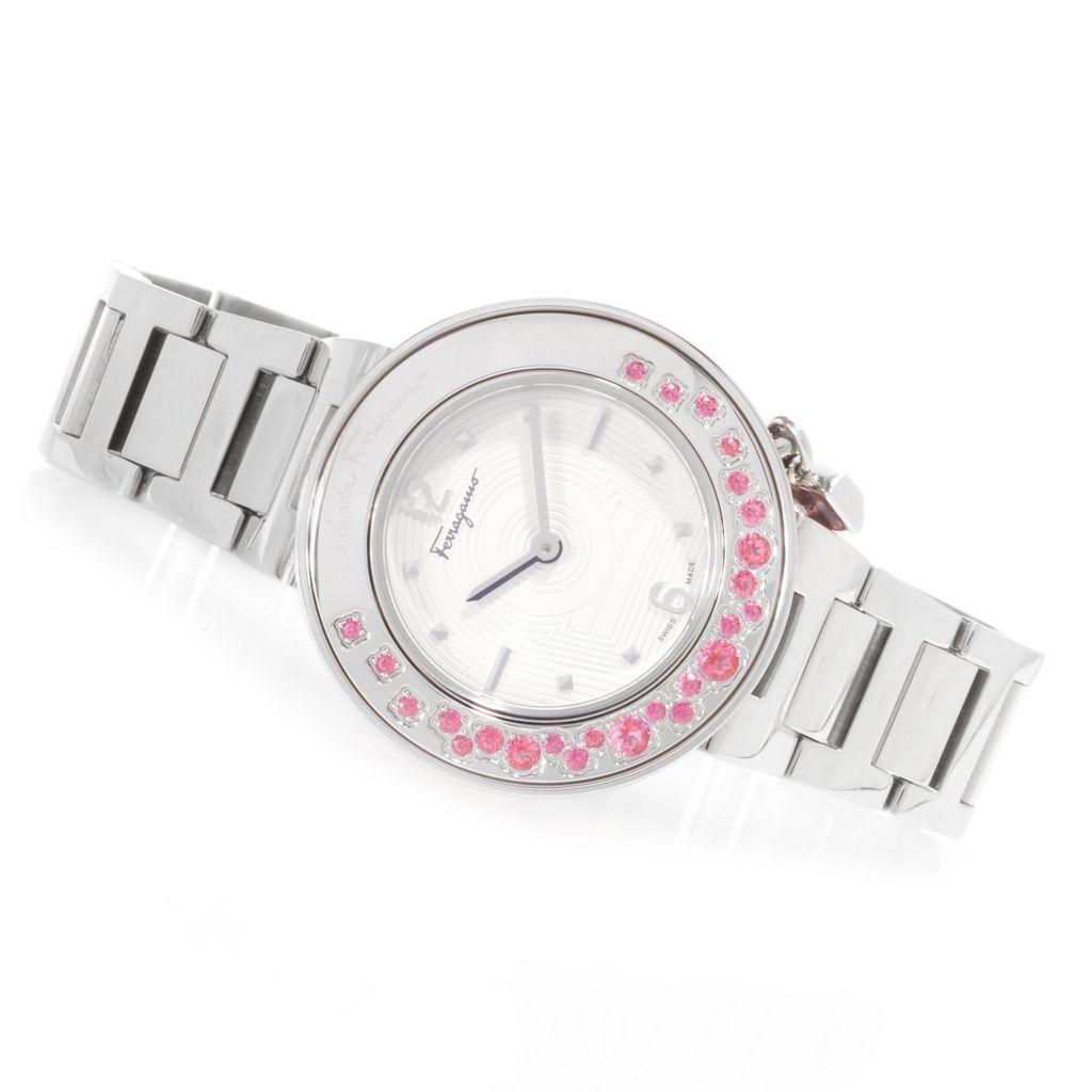 627-085 - Ferragamo Women's Gancino Sparkling Swiss Made Quartz 1.33ctw Pink Topaz Bracelet Watch