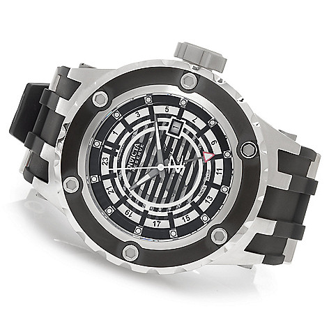 627-087 - Invicta Reserve 52mm Subaqua Specialty Quartz GMT Rubber Strap Watch w/ Eight-Slot Dive Case