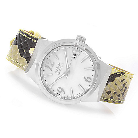 627-088 - Invicta Women's Angel Quartz Mother-of-Pearl Stainless Steel Leather Strap Watch