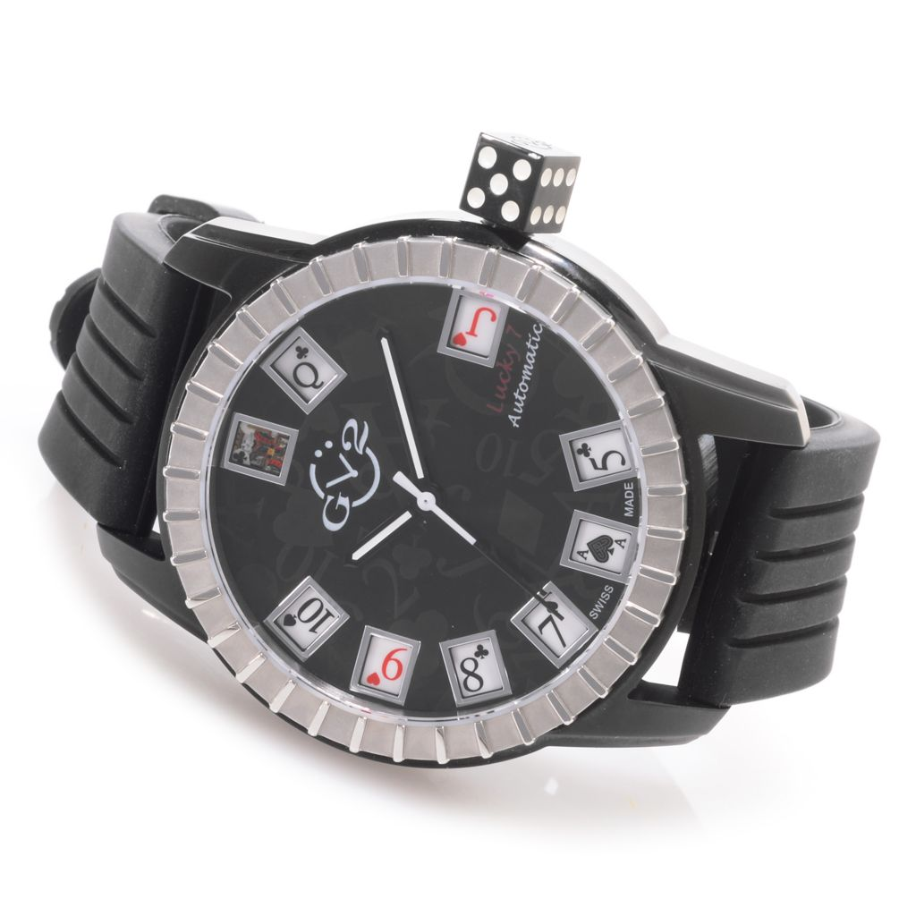 627-091 - GV2 by Gevril 48mm Lucky 7 Swiss Made Automatic Limited Edition Rubber Strap Watch