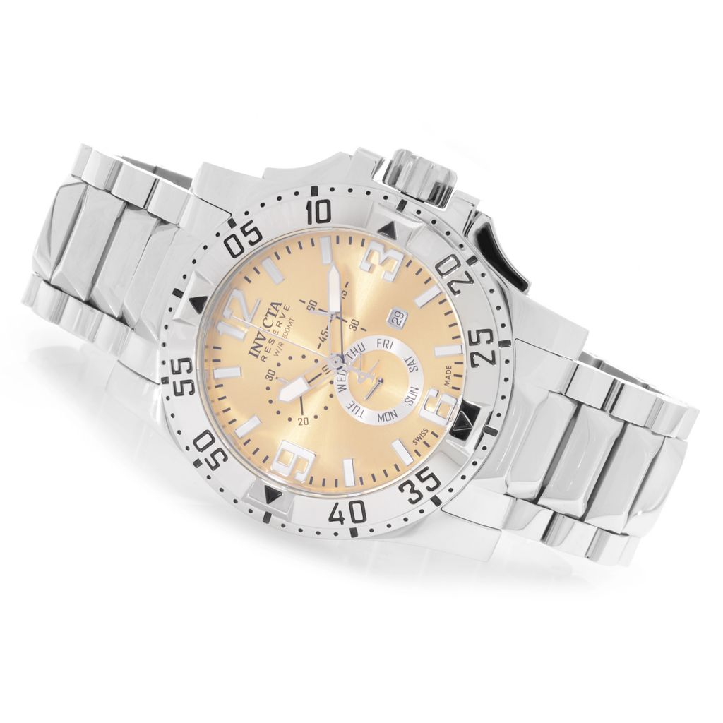 627-096 - Invicta Reserve 50mm Excursion Swiss Chronograph Stainless Steel Bracelet Watch w/ 1-Slot Dive Case