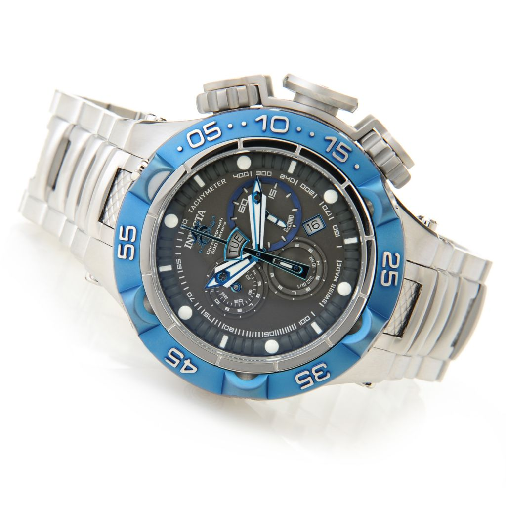 627-100 - Invicta 50mm Subaqua Noma V Swiss Chronograph Stainless Steel Bracelet Watch w/ Eight-Slot Dive Case