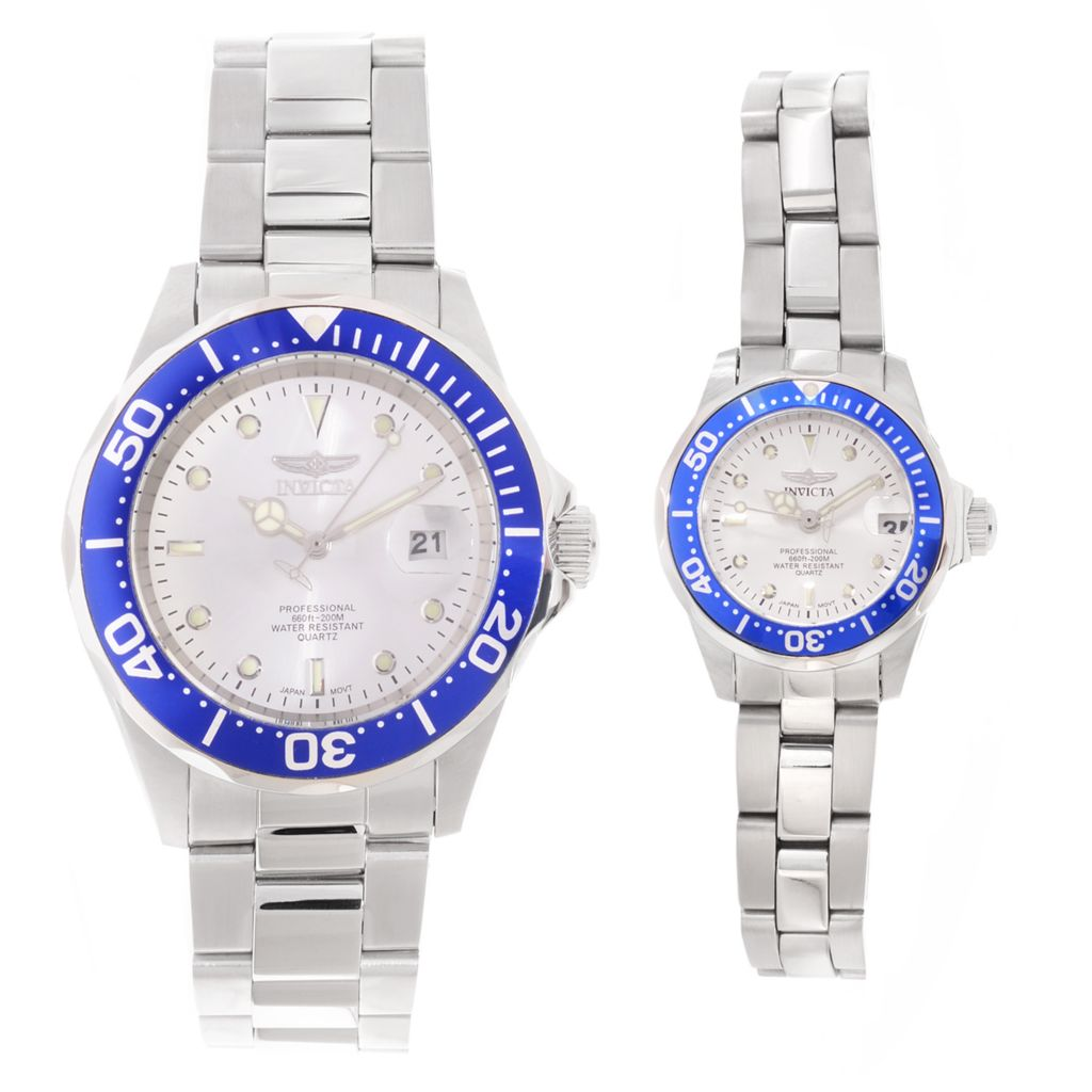 627-103 - Invicta Pro Diver Set of Two 24 & 40mm Quartz Stainless Steel Bracelet Watches w/ 8-Slot Dive Case