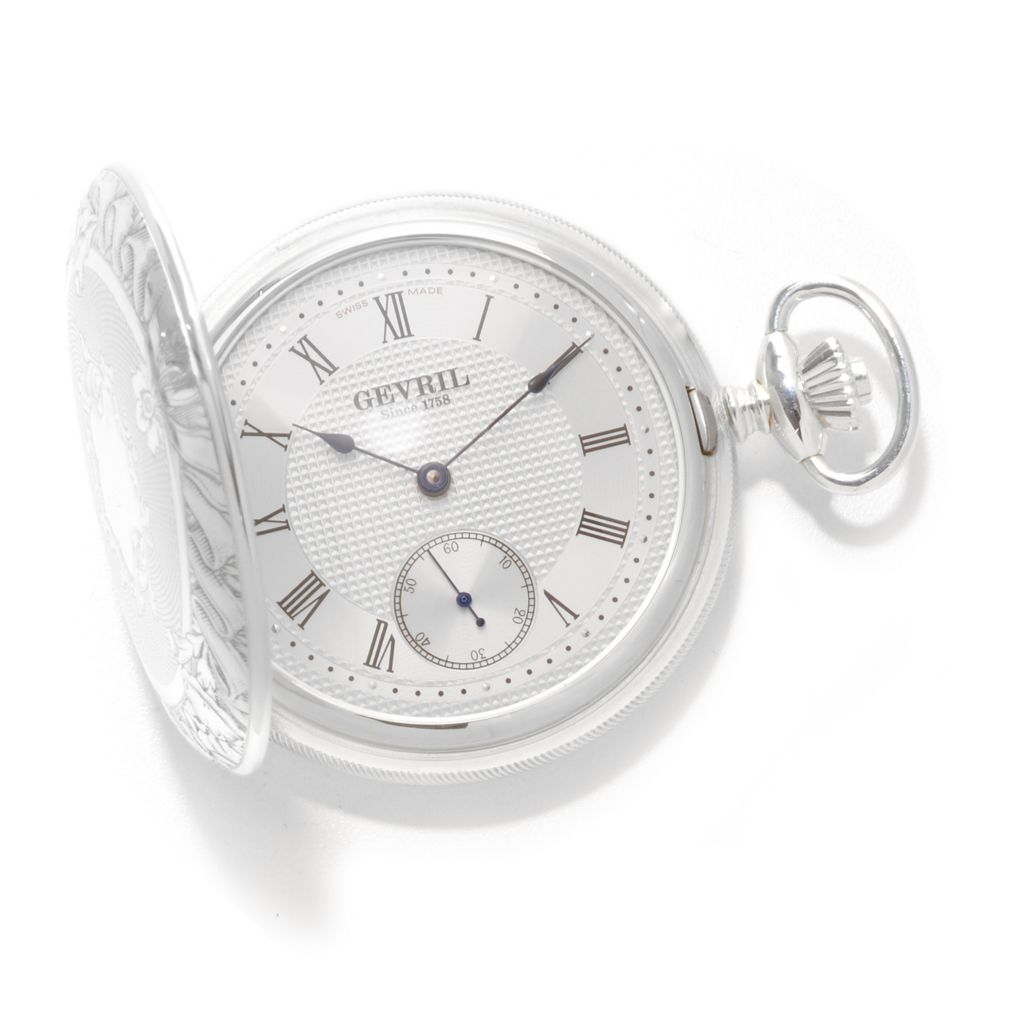 627-108 - Gevril 50mm 1758 Swiss Made Mechanical Sterling Silver Pocket Watch