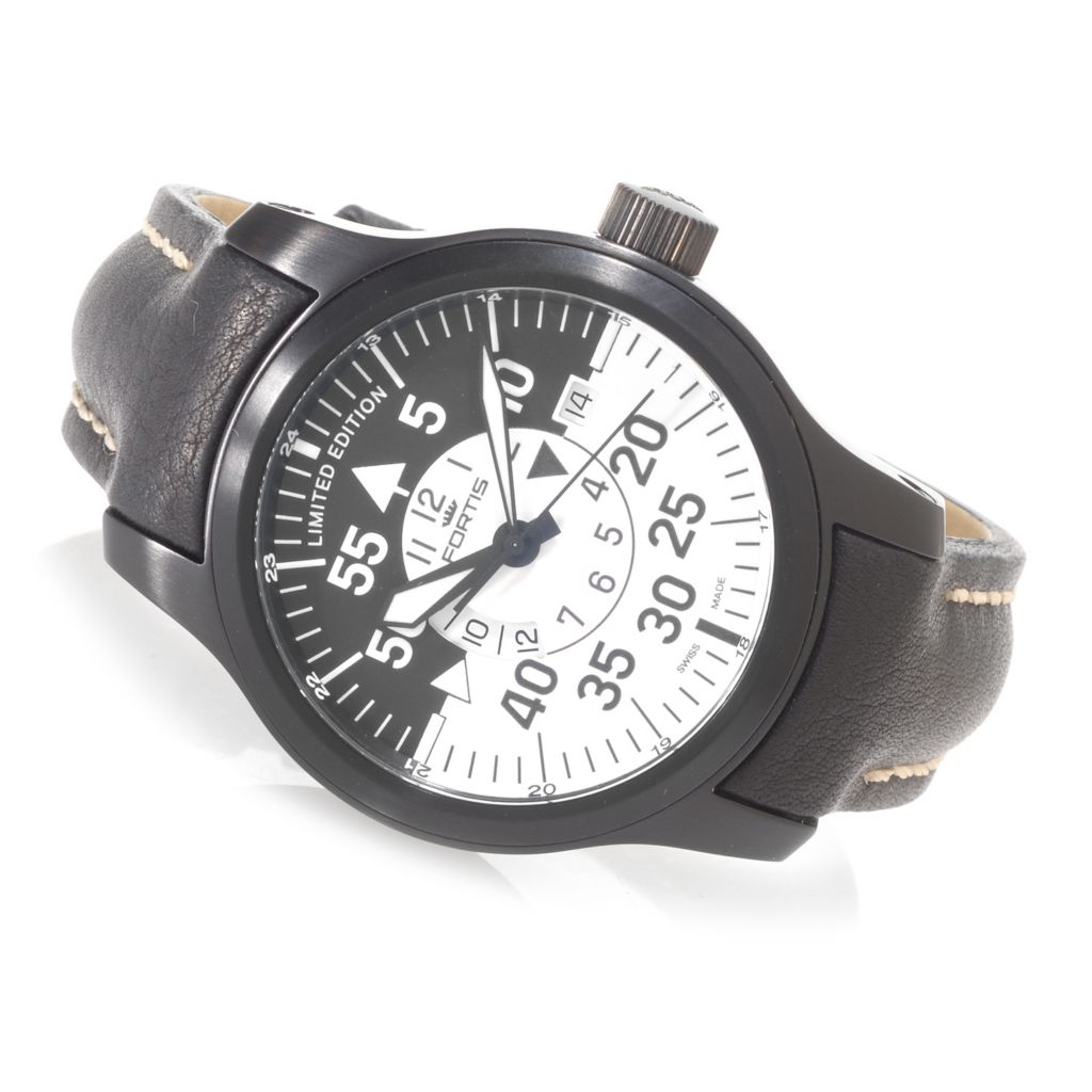 627-111 - Fortis 42mm B-42 Flieger Black Cockpit GMT Swiss Automatic Strap Watch