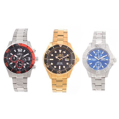 627-119 - Invicta Pro Diver Set of Three Stainless Steel Bracelet Watches w/ Eight-Slot Dive Case