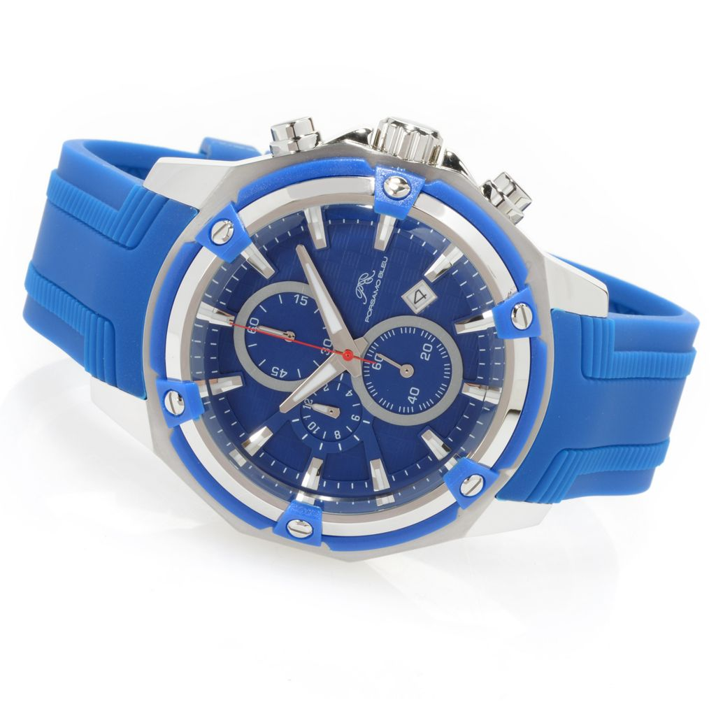 627-127 - Porsamo Bleu 46mm Stavros Quartz Chronograph Stainless Steel Silicone Rubber Strap Watch