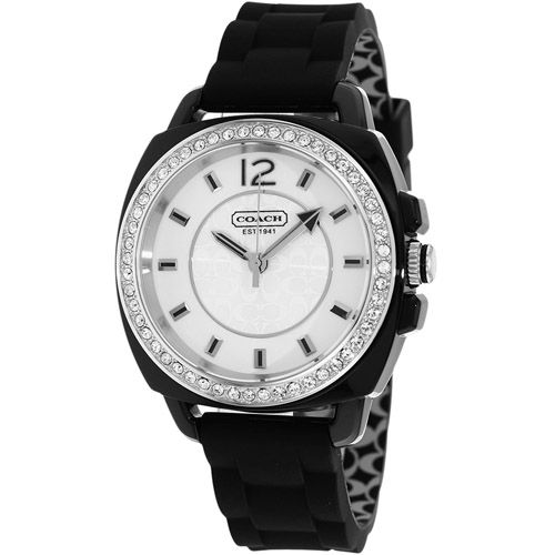 627-137 - Coach Women's Boyfriend Quartz Crystal Accented Rubber Strap Watch