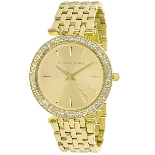 627-167 - Michael Kors Women's Darci Quartz Crystal Accented Bezel Stainless Steel Bracelet Watch