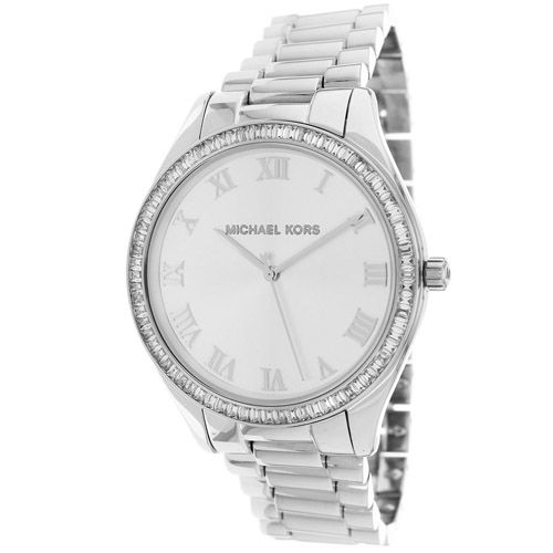 627-168 - Michael Kors Women's Blake Quartz Crystal Accented Silver-tone Stainless Steel Bracelet Watch