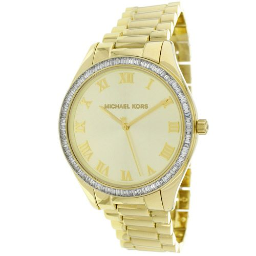 627-169 - Michael Kors Women's Blake Quartz Crystal Accented Bezel Stainless Steel Bracelet Watch