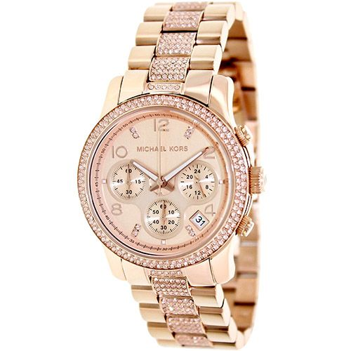 627-172 - Michael Kors Women's Runway Crystal Quartz Chronograph Stainless Steel Bracelet Watch