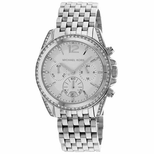 627-173 - Michael Kors Women's Pressley Quartz Chronograph Crystal Accented Silver-tone Bracelet Watch