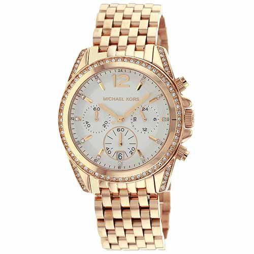 627-174 - Michael Kors Women's Pressley Quartz Chronograph Crystal Accented Rose-tone Bracelet Watch