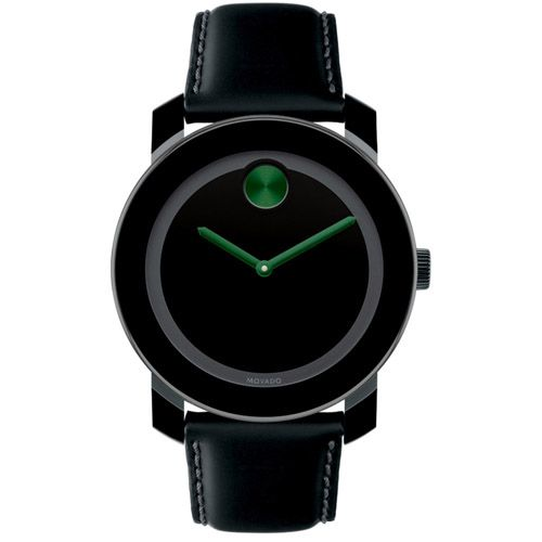 627-192 - Movado 42mm Swiss Quartz Black Leather Strap Watch