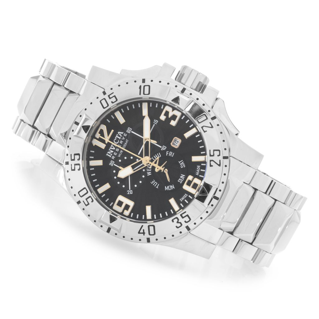 627-229 - Invicta Reserve 50mm Excursion Swiss Chronograph Stainless Steel Bracelet Watch w/ 1-Slot Dive Case