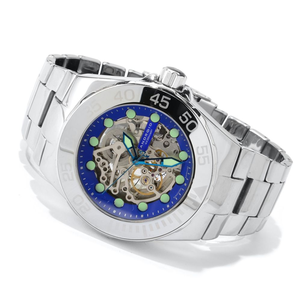 627-232 - Android Hercules Automatic Skeleton Deep Dish Dial Tungsten Bracelet Watch