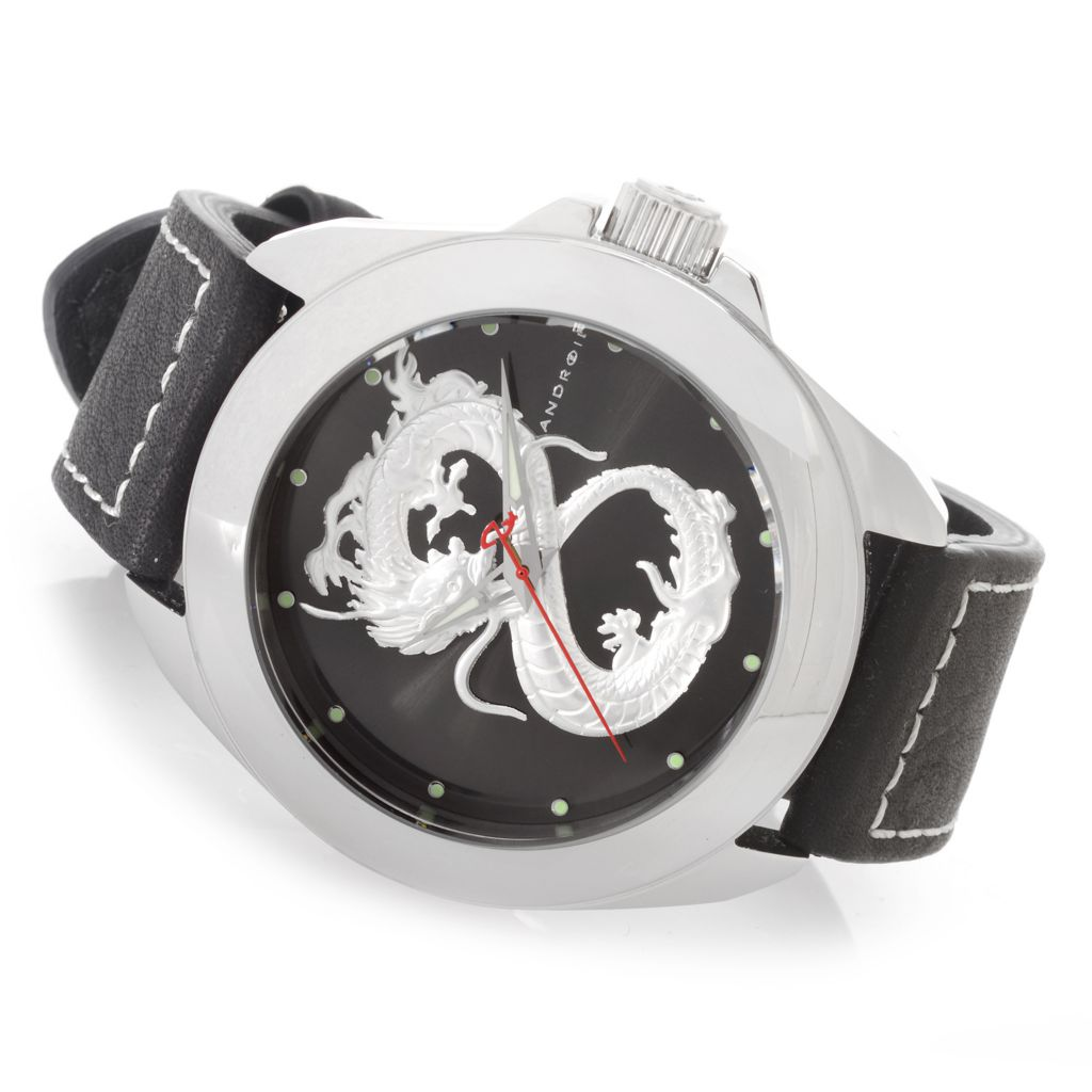 627-234 - Android 49mm 3D Dragon Quartz Stainless Steel Leather Strap Watch