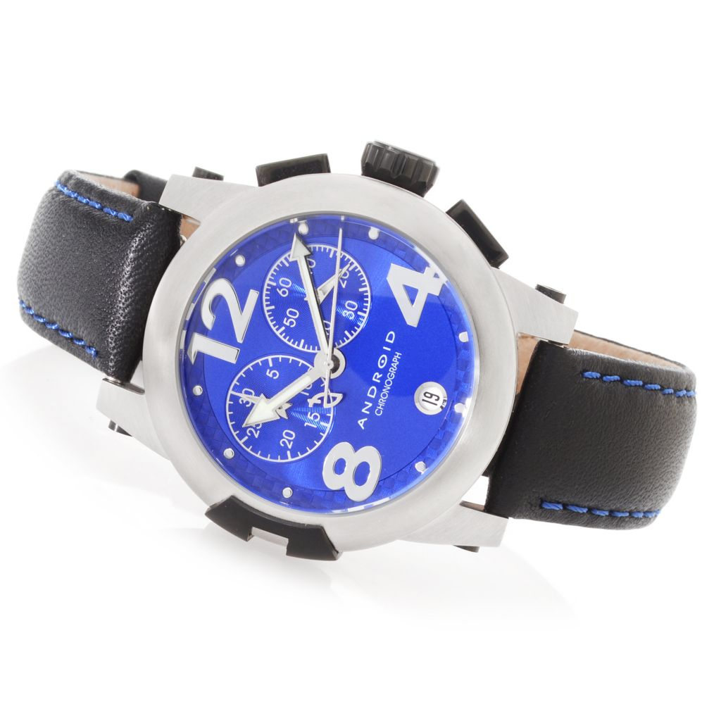 627-236 - Android 37mm Intercontinental Quartz Chronograph Strap Watch w/ 3-Slot Travel Case