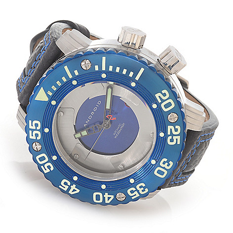 627-237 - Android 56mm DM Gauge Blades Automatic Deep Dish Dial Stainless Steel Leather Strap Watch