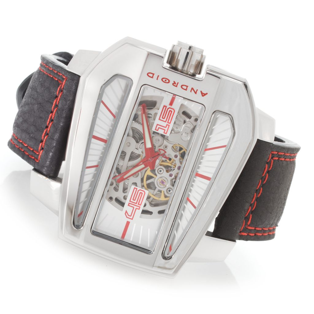 627-240 - Android 53mm Concept S Limited Edition Automatic Skeletonized Leather Strap Watch