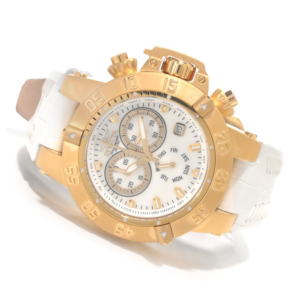 627-245 - Invicta Women's Subaqua Noma III Quartz Chronograph Mother-of-Pearl Leather Strap Watch