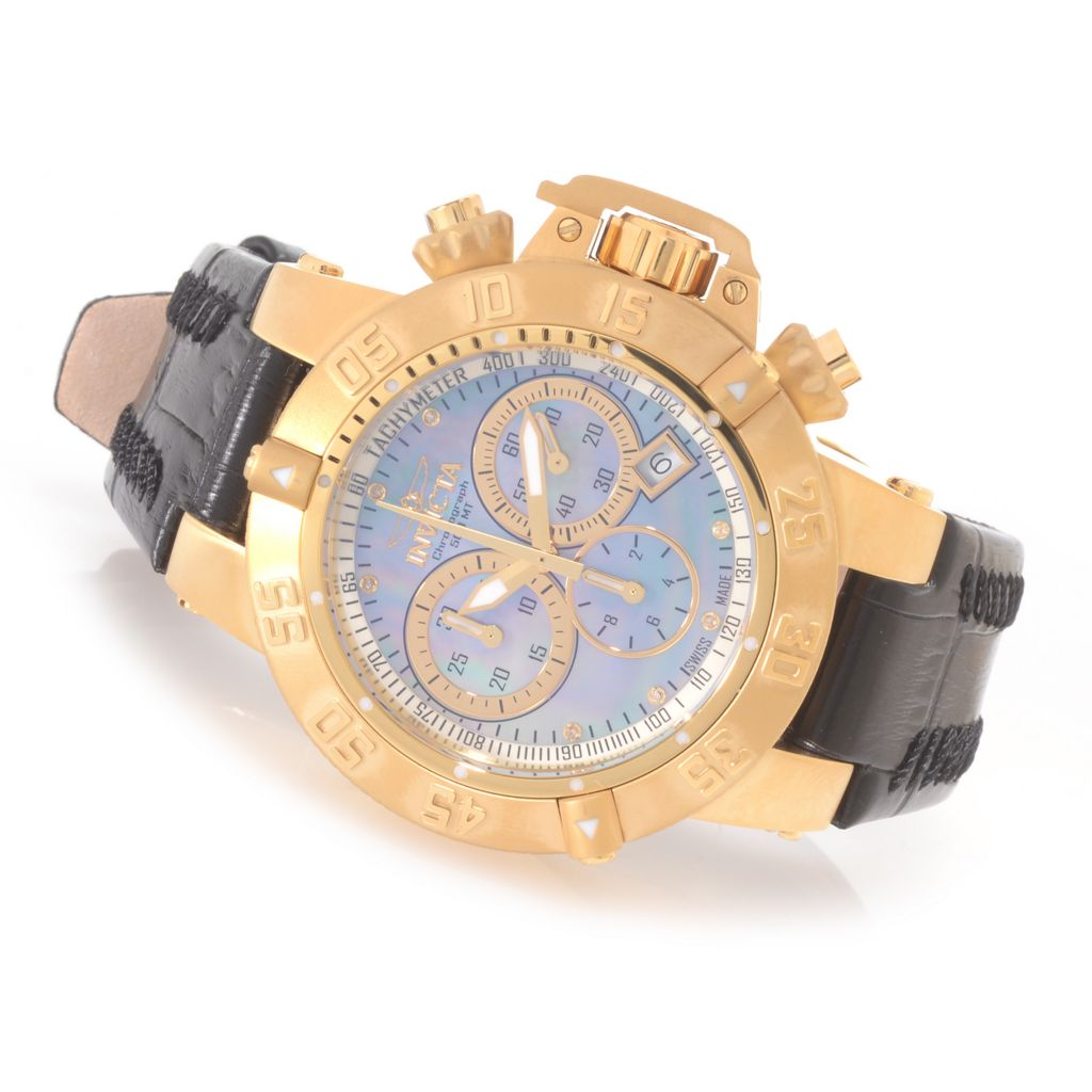 627-246 - Invicta Women's Subaqua Noma III Swiss Chronograph Diamond Accented Leather Strap Watch
