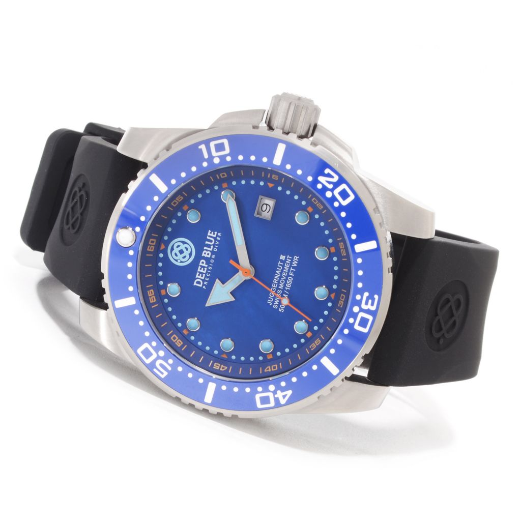 627-249 - Deep Blue 45mm Juggernaut III Swiss Quartz Mother-of-Pearl Silicone Strap Watch
