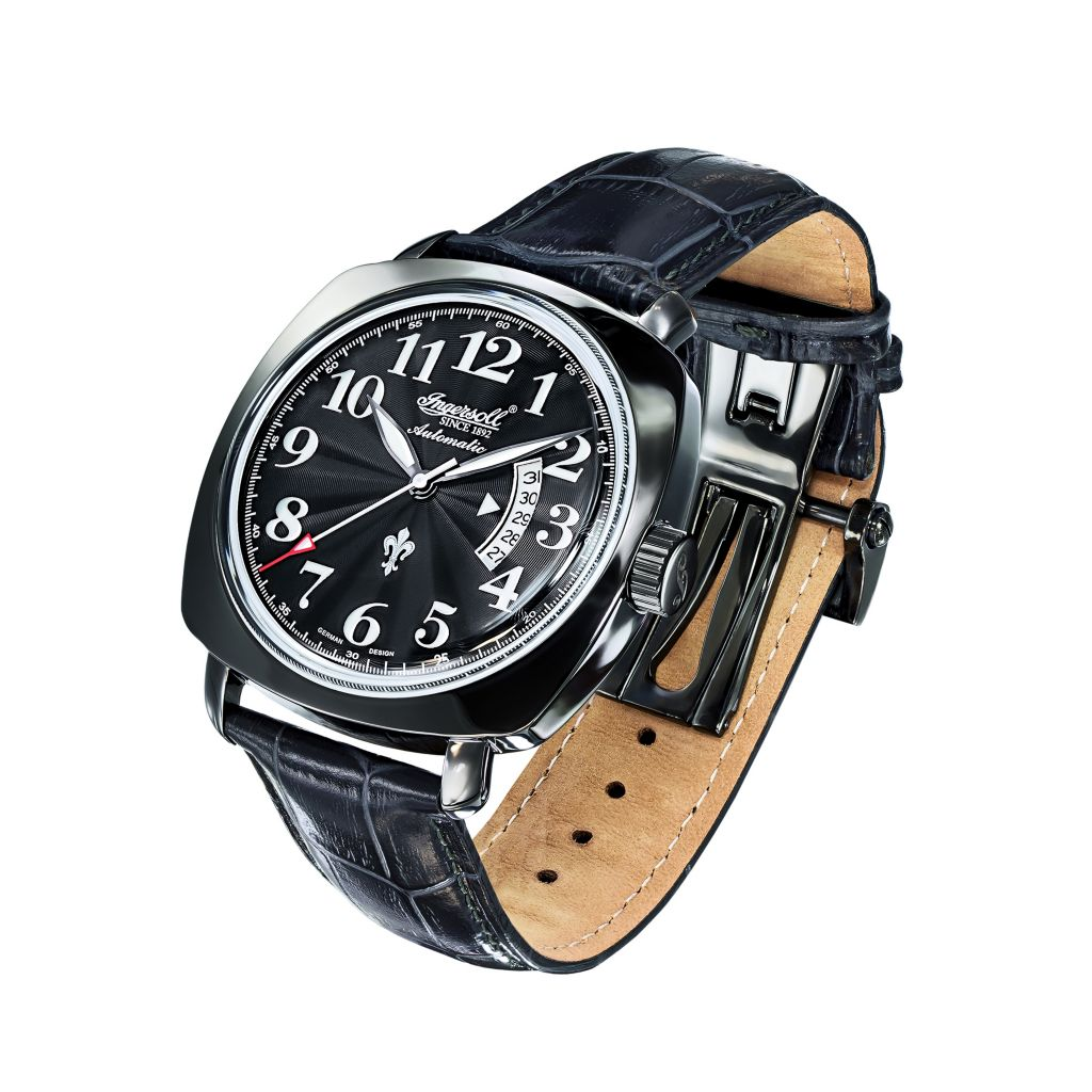 627-253 - Ingersoll 46mm Black Jack Automatic Date Leather Strap Watch