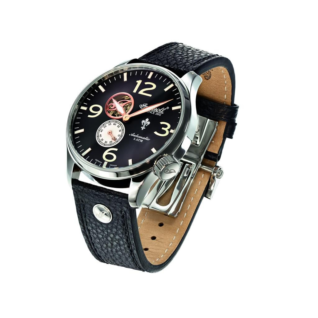 627-254 - Ingersoll 48mm Teton Automatic Stainless Steel Black Leather Strap Watch