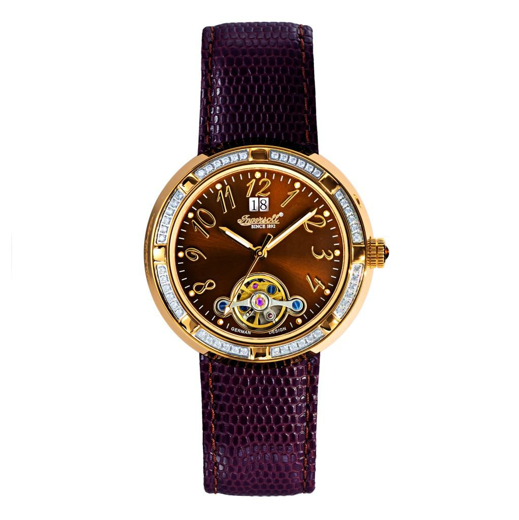 627-274 - Ingersoll Women's Camino Automatic Crystal Accented Leather Strap Watch